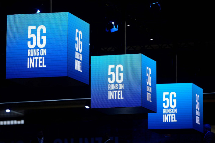 fd10beabe03 Intel banners at the Mobile World Congress this week in Barcelona. Photo:  VCG