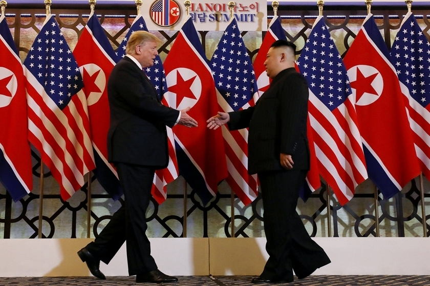 U.S. President Donald Trump and North Korea's top leader Kim Jong Un prepare to shake hands at the second leaders' summit on Wednesday, at the Metropole Hotel in Hanoi, Vietnam. Photo: VCG_ Gallery: Trump and Kim Meet in Hanoi