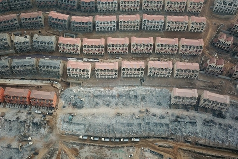 An aerial view of some of the over 700 villas built illegally on a mountainside in Shijiazhuang, North China's Hebei province, taken on Feb. 25. Photo: IC
