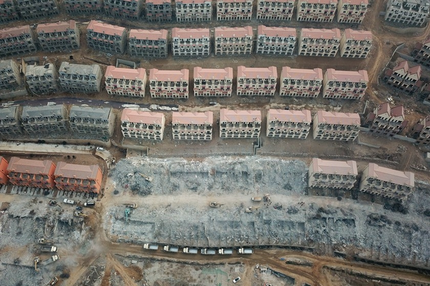 An aerial view of some of the over 700 villas built illegally on a mountainside in Shijiazhuang, North China's Hebei province, taken on Feb. 25. Photo: IC_Gallery: Workers Start Demolishing Hundreds of Illegally Built Villas