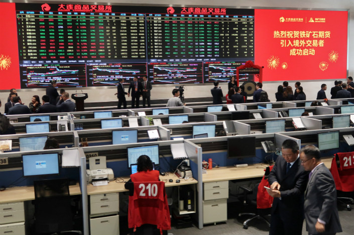 Iron ore futures trading floor in the northeastern port city of Dalian. Photo: VCG