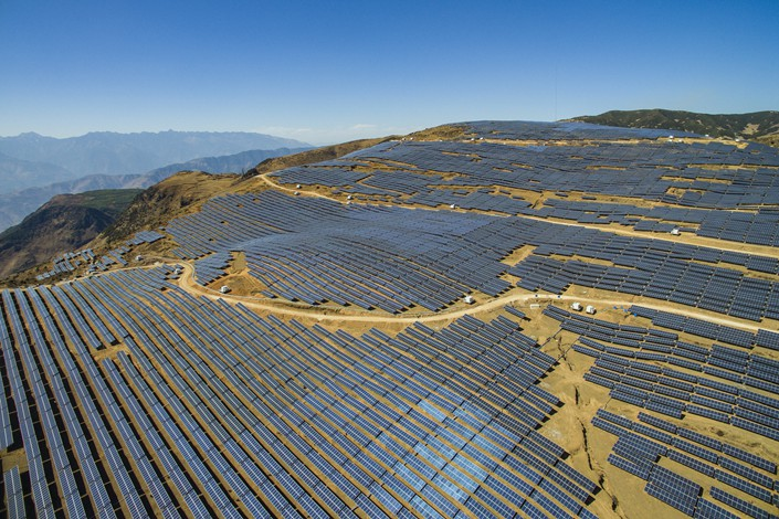 A solar power array covers a hillside on Feb. 17 in Southwest China's Sichuan province. Photo: VCG