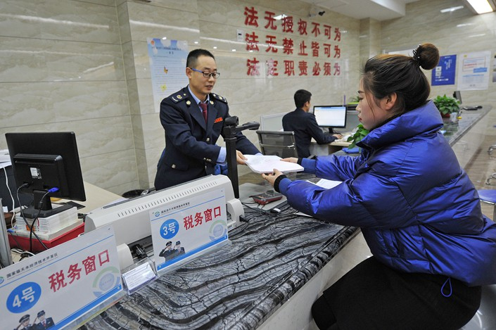 A tax counter in northwest China's Gansu Province. Photo: VCG