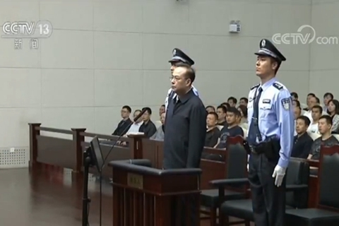 Sun Zhengcai appears in a court in Tianjin on April 12, 2018. Photo: CCTV