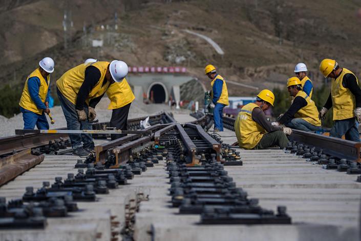 The Sichuan-Tibet Railway under construction on Sept 16, 2018. Photo: VCG