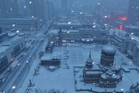Snowy Saint Sophia Cathedral seen from above in Harbin on Wednesday. Photo: VCG