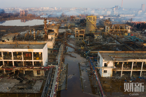 The blast left the industrial park in Xiangshui in ruins. Photo: Caixin