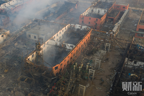 The blast tore the roofs off nearby buildings in Xiangshui. Photo: Caixin