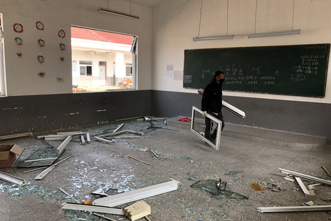 The blast damaged this primary school classroom. Photo: IC