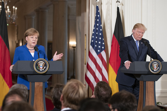 U.S. President Donald Trump meets with German Chancellor Angela Merkel in Washington on April 27. Photo: IC