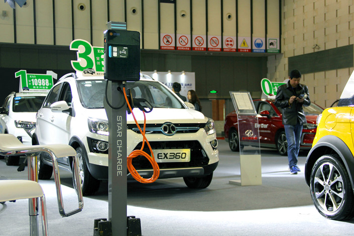 A new-energy vehicle exhibition in Nanjing, Jiangsu province on March 22. Photo: VCG