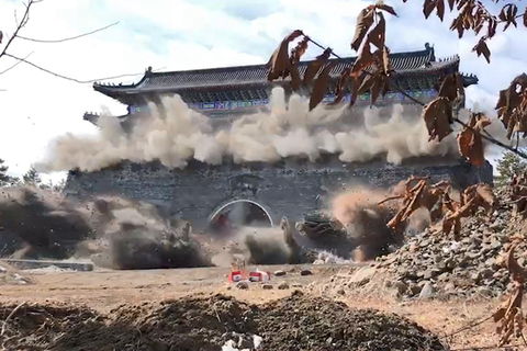 The gate to the illegally-built Cao Garden is blown to smithereens in Mudanjiang, Northeast China's Heilongjiang province on Wednesday. Photo: IC