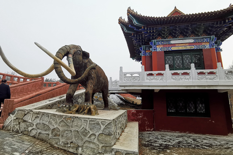 An elephant statue is seen in front of a pavilion in Cao Garden on March 20. Photo: VCG