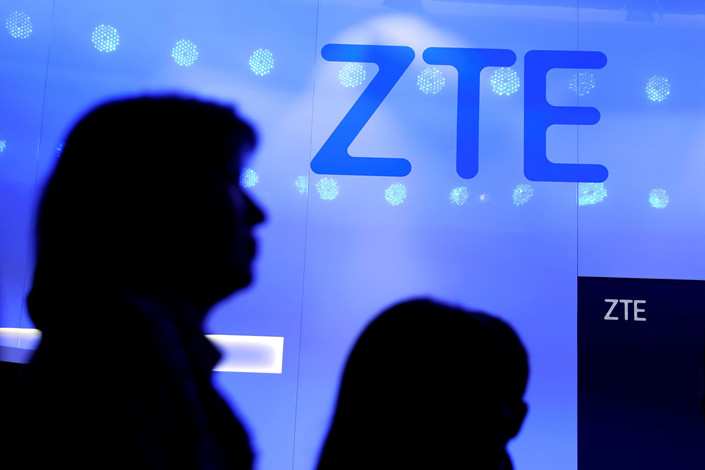 The ZTE logo outside the Mobile World Congress in Barcelona, Spain, on Feb. 25. Photo: VCG
