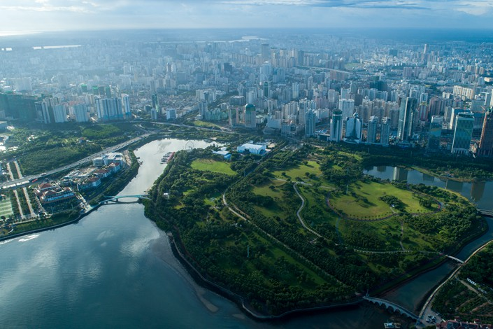 An aerial view of Haikou, Hainan province on Aug. 20. Photo: IC