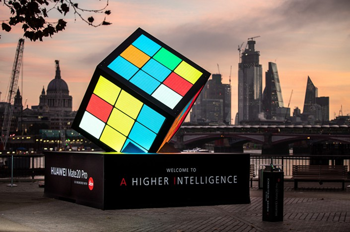 A giant AI-powered Rubik's Cube stands on London's South Bank to mark the launch of a new Huawei smartphone on Oct. 25. Photo: VCG