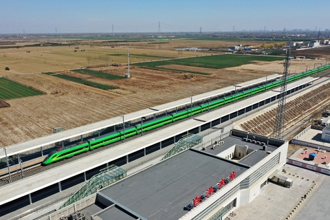A high-speed train stops at Baiyangdian Railway Station in Rongcheng on March 31. Photo: VCG