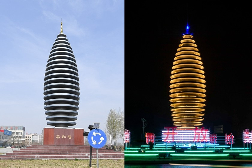 The Ronghe tower in Rongcheng county, North China's Hebei province pictured before its refurbishment (left) and after its refurbishment (right). Rongcheng county is one of the three Hebei counties from which the Xiongan New Area is being created. Photo: IC_Gallery: Xiongan Turns Two