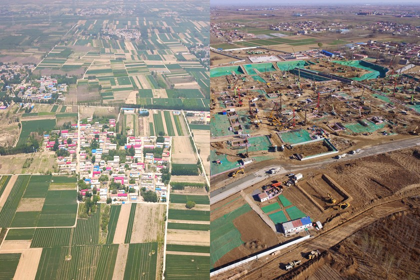 Before-and-after photos of the site of the Xiongan Railway Station on the Beijing-Xiongan intercity railway in Baoding, Hebei. Photo: IC