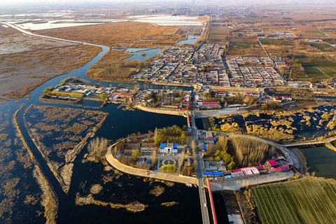 This village near Baiyangdian Lake in the Xiongan New Area, pictured on March 22, is scheduled for demolition. Photo: IC