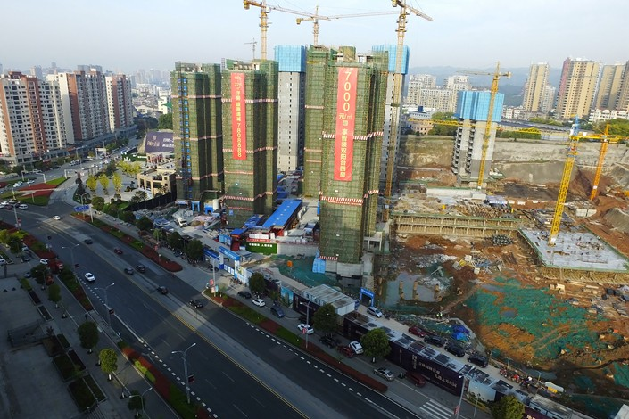 A Vanke building under construction in Yichang, Hubei province, on April 1. Photo: VCG