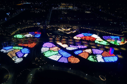 The different sections of the expo park are seen from above on Monday night. Photo: VCG