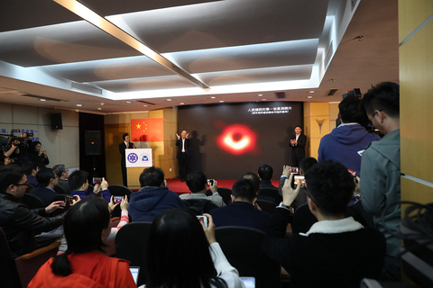 """We have seen what we thought was unseeable,"" said EHT director and astrophysicist Sheperd Doeleman on announcing the findings. Pictured, Chinese researchers hold a press conference to discuss the image in Shanghai on Wednesday night. Photo: VCG"