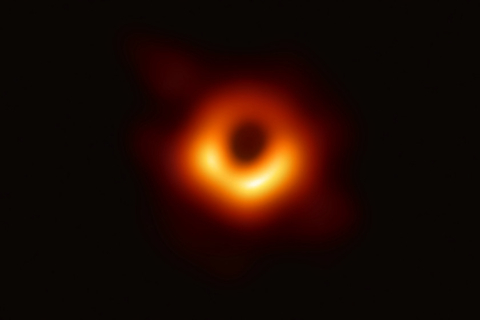 The first-ever image of what scientists believe to be a black hole in a distant galaxy. Photo: IC