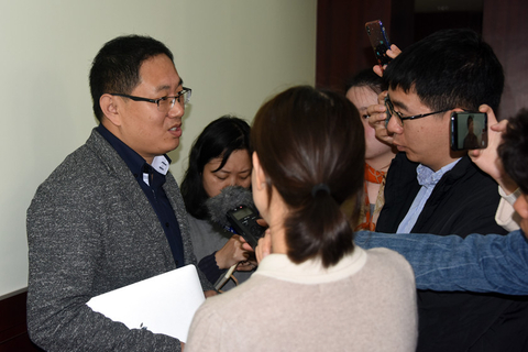 A researcher from Shanghai Astronomical Observatory, Chinese Academy of Sciences takes questions before a press conference on Wednesday in Shanghai, China. Photo: IC