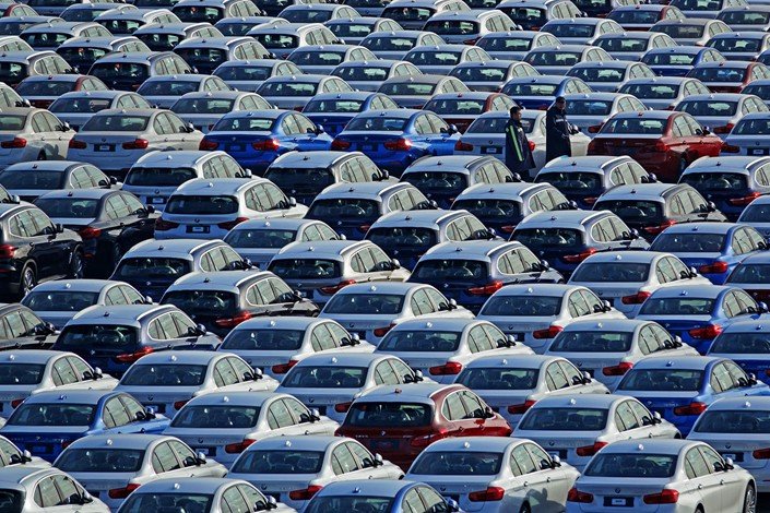 Cars await shipping in the Dalian Automobile Terminal, in Dalian, Liaoning province on Jan. 9. Photo: IC