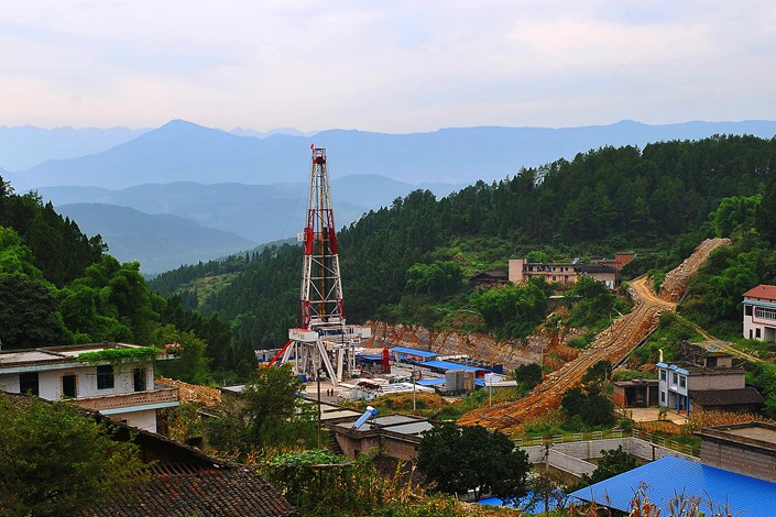 A well at the Sinopec Fuling Shale Gas Project in Chongqing, China, on Aug. 16, 2014. Photo: IC