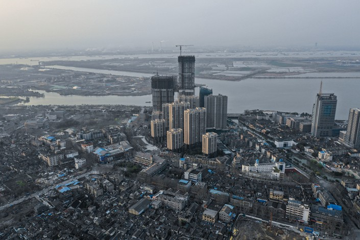 An aerial view of the city of Zhenjiang on March 21. Photo: Liang Yingfei/Caixin