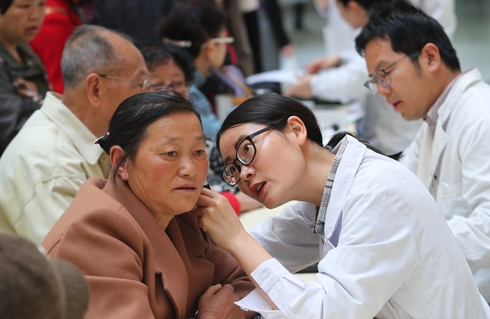 A patient receives a hearing test at a hospital in Kunming, Yunnan Province, on March 3, 2019. Photo: IC