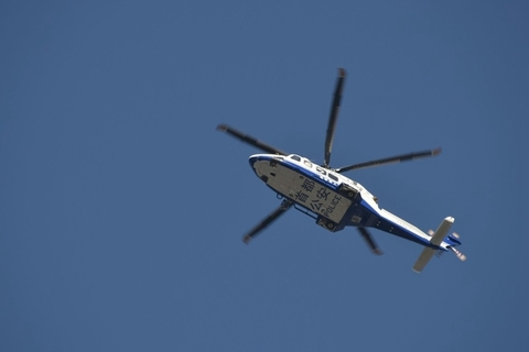 A Beijing police helicopter on patrol during the marathon on April 14. Photo: IC