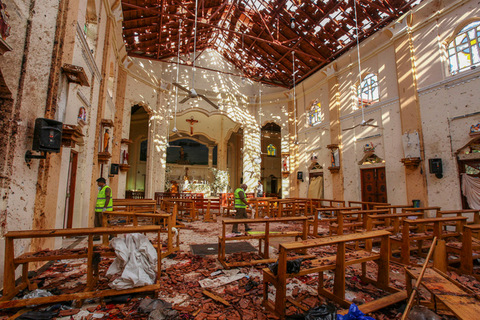 Debris litters the floor of St. Sebastian's Church on Sunday following the bombing there in the city of Negombo, north of the Sri Lankan capital of Colombo. Photo: IC