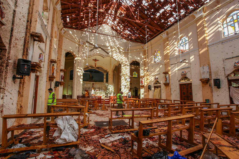 Debris litters the floor of St. Sebastian's Church on Sunday following the bombing there in the city of Negombo, north of the Sri Lankan capital of Colombo. Photo: IC_Gallery: Two Chinese Citizens Killed in Sri Lanka Bombings