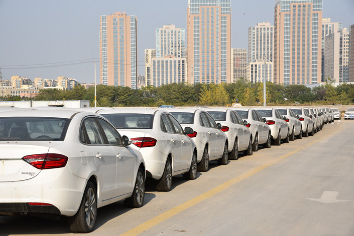 A column of Didi ride-hailing cars sit in a parking lot in Nanjing, East China's Jiangsu province. Photo: IC