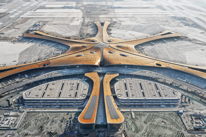 An aerial view of Beijing Daxing International Airport under construction in Beijing on Jan. 2. Photo: IC