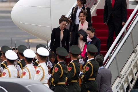 Myanmar State Counsellor Aung San Suu Kyi arrives at Beijing Capital International Airport ahead of the BRF on April 24. Photo: IC Photo