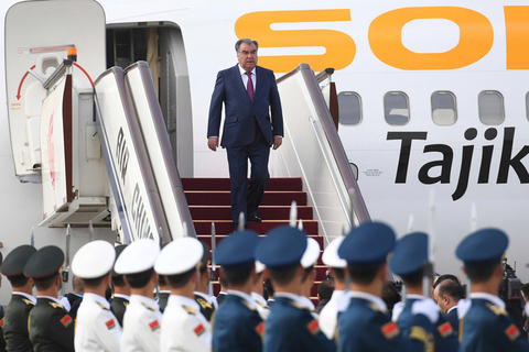 Tajikistan's President Emomali Rahmon arrives in Beijing on April 25 ahead of the second BRF. Photo: IC Photo