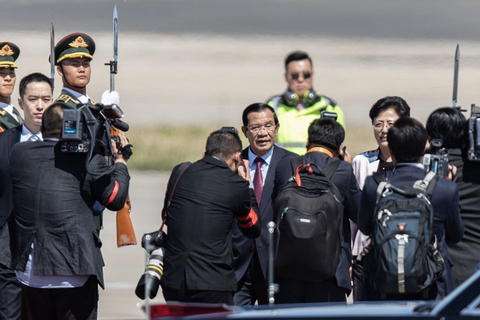 Cambodian Prime Minister Hun Sen arrives in Beijing on April 25 ahead of the second BRF. Photo: IC Photo