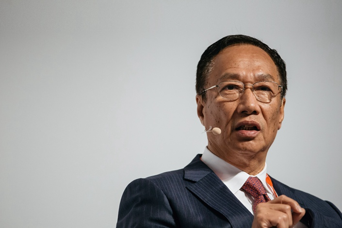 Billionaire Terry Gou, chairman of Foxconn Technology Group, speaks at the Asia-Pacific Conference of German Business in Hong Kong, China, on Nov. 5, 2016. Photo: Getty Images