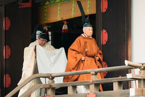 Japan's Emperor Akihito leaves after attending a ceremony called Taiirei-Tojitsu-Kashikodokoro-Omae-no-Gi, in which the emperor reports his abdication to his ancestors, at the Imperial Palace in Tokyo on Tuesday. Photo: IC Photo