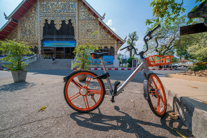 A Mobike shared bike sits on a street in Chiang Mai, Thailand, in February 2018.  Photo: IC Photo
