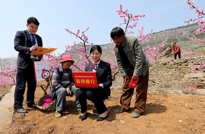 Wang Qian, an employee with a rural bank in Zaozhuang, Shandong province, issues small loans to villagers on April 3. Photo: IC Photo