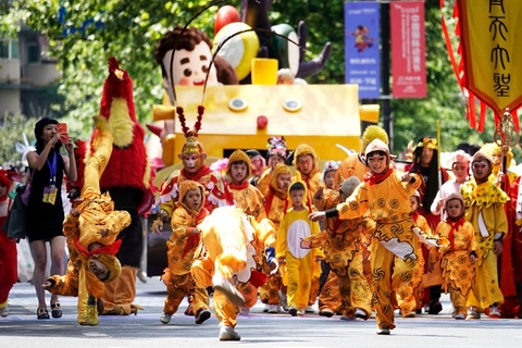 "Children dressed as Sun Wukong, a character from Chinese literary classic ""Journey to the West"" also known as the Monkey King, took part in a street parade in Hangzhou, Zhejiang province on May 4. The parade was part of the 15th China International Cartoon and Animation Festival, which opened on May 2 and ran until May 5. Photo: IC Photo"
