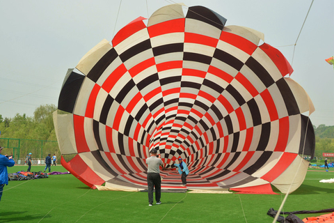 A visitor poses for a photo in front of a really, really big kite. Photo: IC Photo