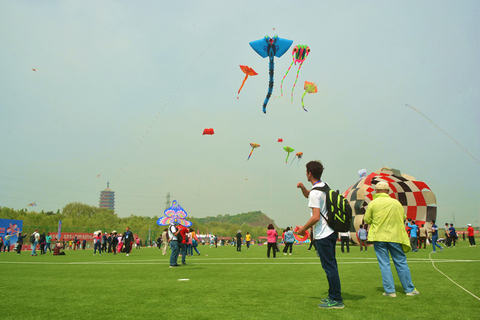 Kites crowd the sky at the festival. Photo: IC Photo