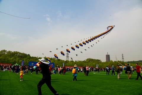 A participant flies a long-tailed dragon kite. Photo: IC Photo