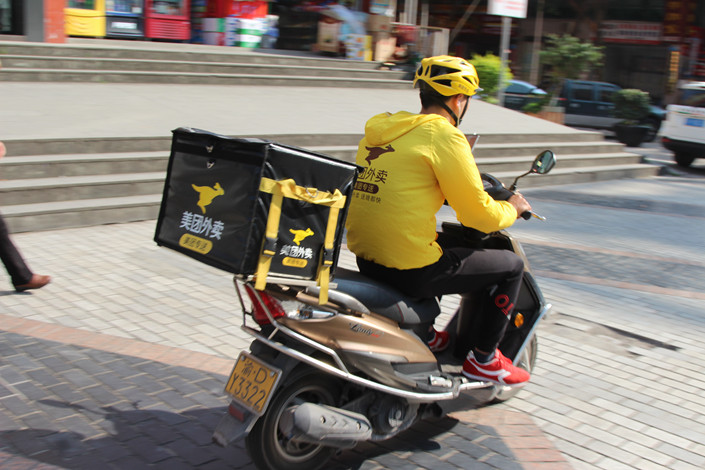 A Meituan delivery driver in Chongqing on April 10. Photo: IC Photo